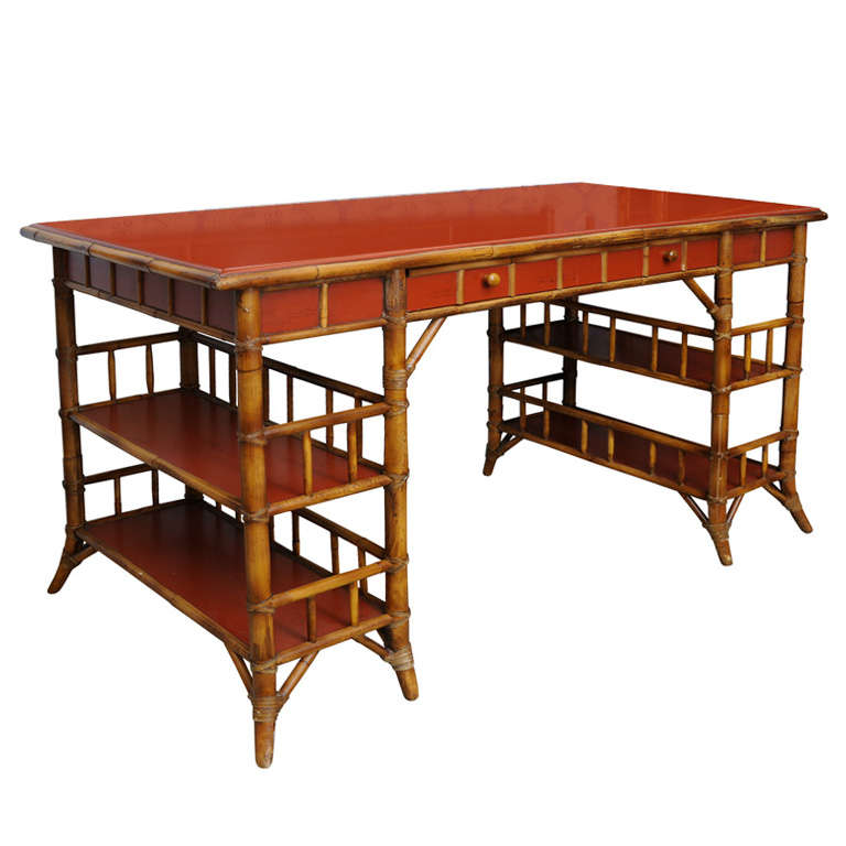 Bamboo Desk With Red Lacquer Top Labeled Milling Road At