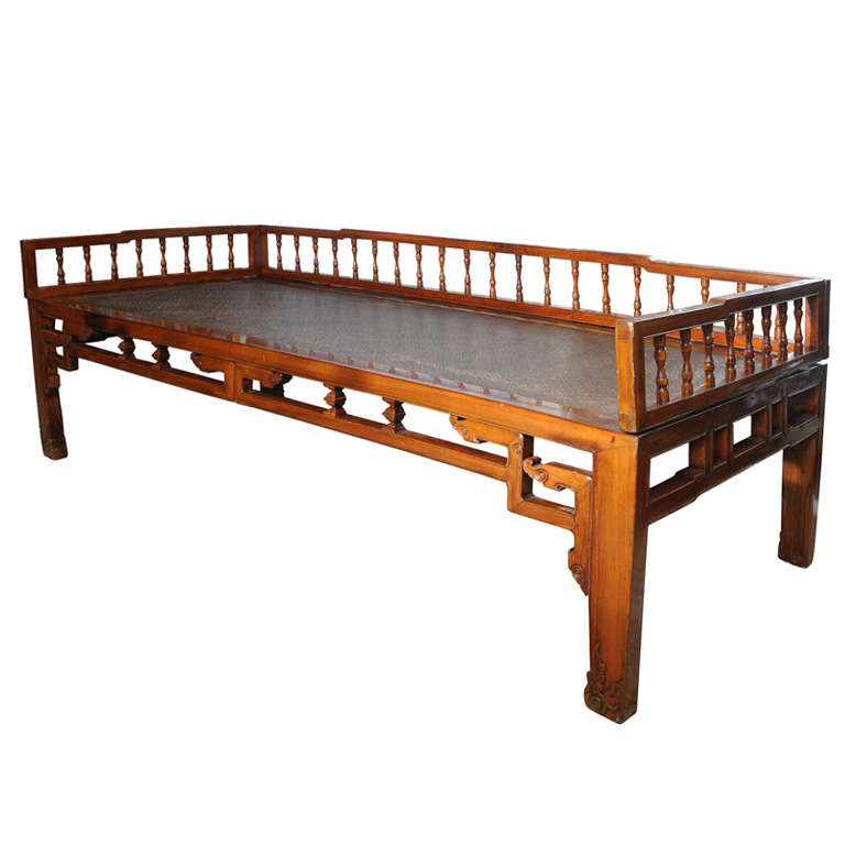 Antique chinese elmwood opium bed or daybed at 1stdibs for China furniture bed