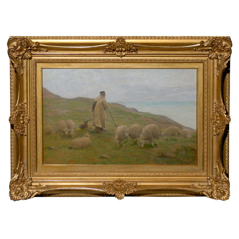 Rural Sheep and Shepherd Animal Oil on Canvas Painting by Gaylord Truesdell