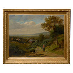 English Landscape of Girl with Ducks in Antique Gilt Frame