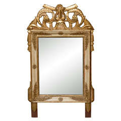 19th Century French Louis XVI Style Crested Gilt Patinated Mirror with Trophy