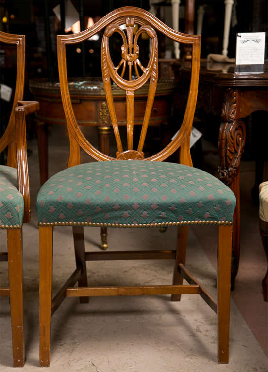 Set Of 10 Sheraton Style Shield Back Dining Chairs At 1stdibs