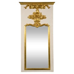 French Louis XVI Style Painted And Parcel Gilt Trumeau Mirror Exquisite Detail
