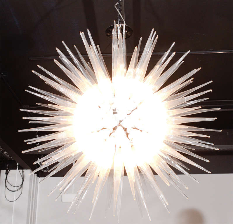 spectacular starburst murano glass chandelier at 1stdibs. Black Bedroom Furniture Sets. Home Design Ideas