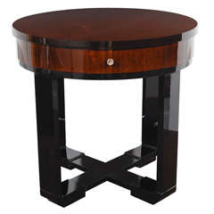 Art Deco Inlayed & Book Matched Mahogany Gueridon Table