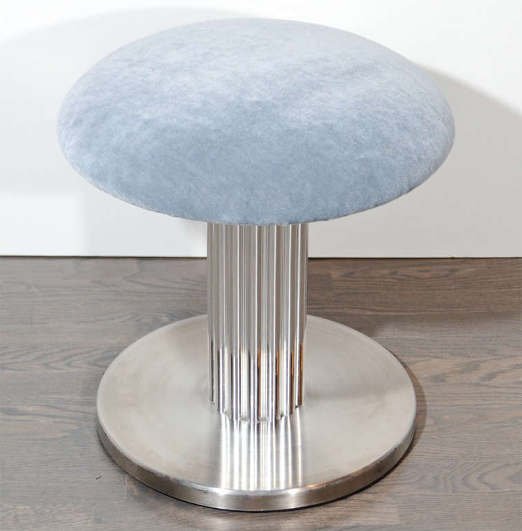 Modernist Swivel Vanity Stool with Fluted Pedestal image 2