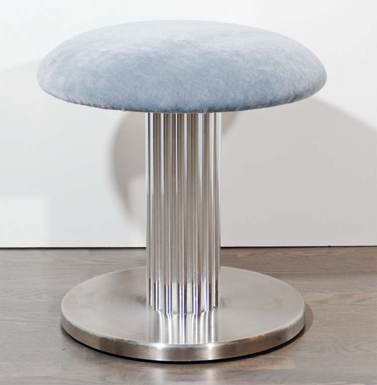 Modernist Swivel Vanity Stool With Fluted Pedestal At 1stdibs