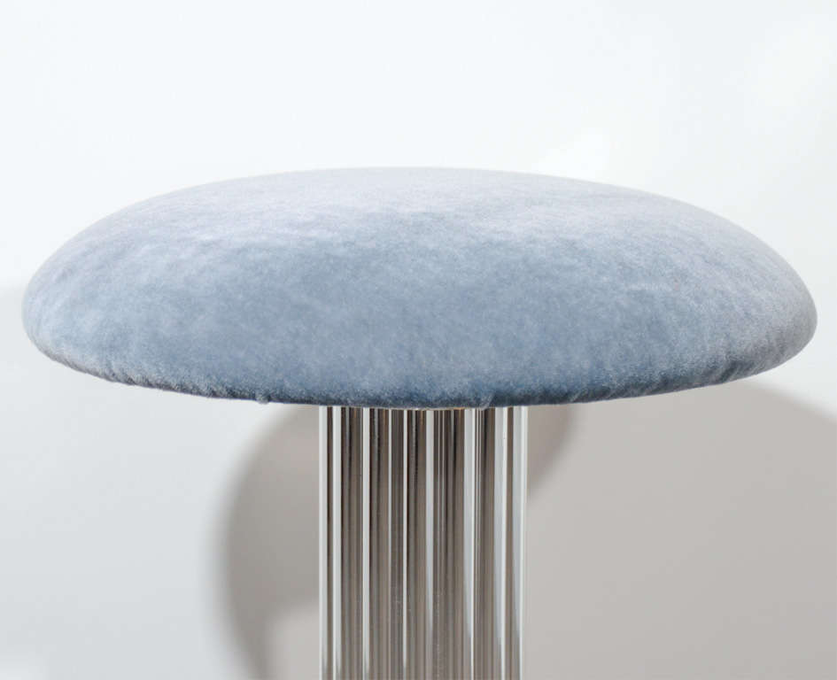 Modernist Swivel Vanity Stool With Fluted Pedestal At 1stdibs