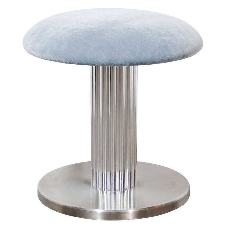 Modernist Swivel Vanity Stool with Fluted Pedestal