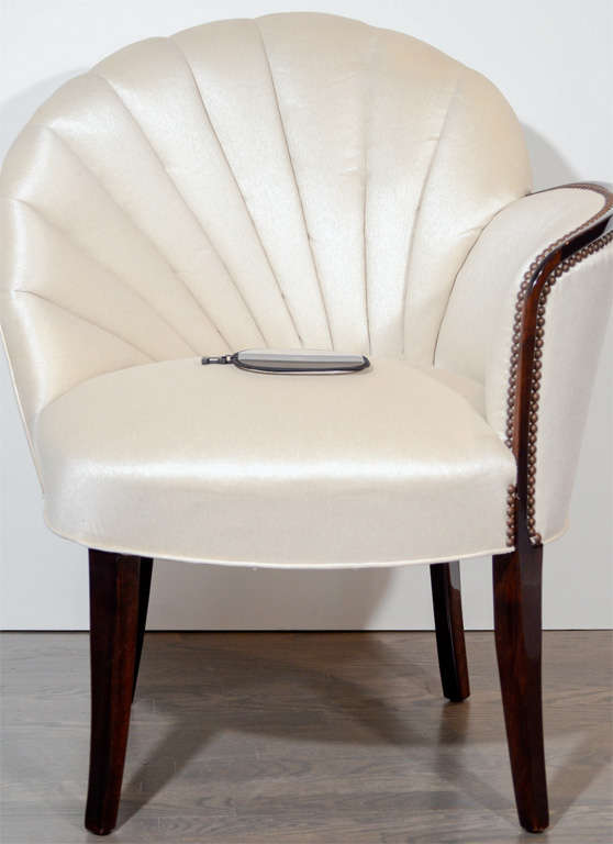 Pair of Glamorous Hollywood Channel Tufted Shell back Chairs 3