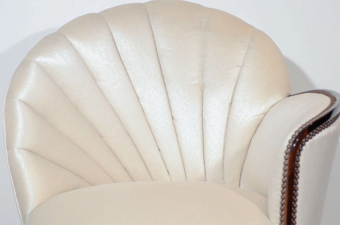 Pair of Glamorous Hollywood Channel Tufted Shell back Chairs 4