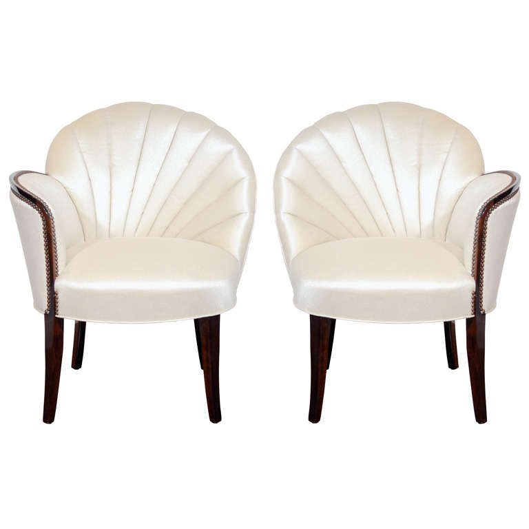 Pair of Glamorous Hollywood Channel Tufted Shell back Chairs 1
