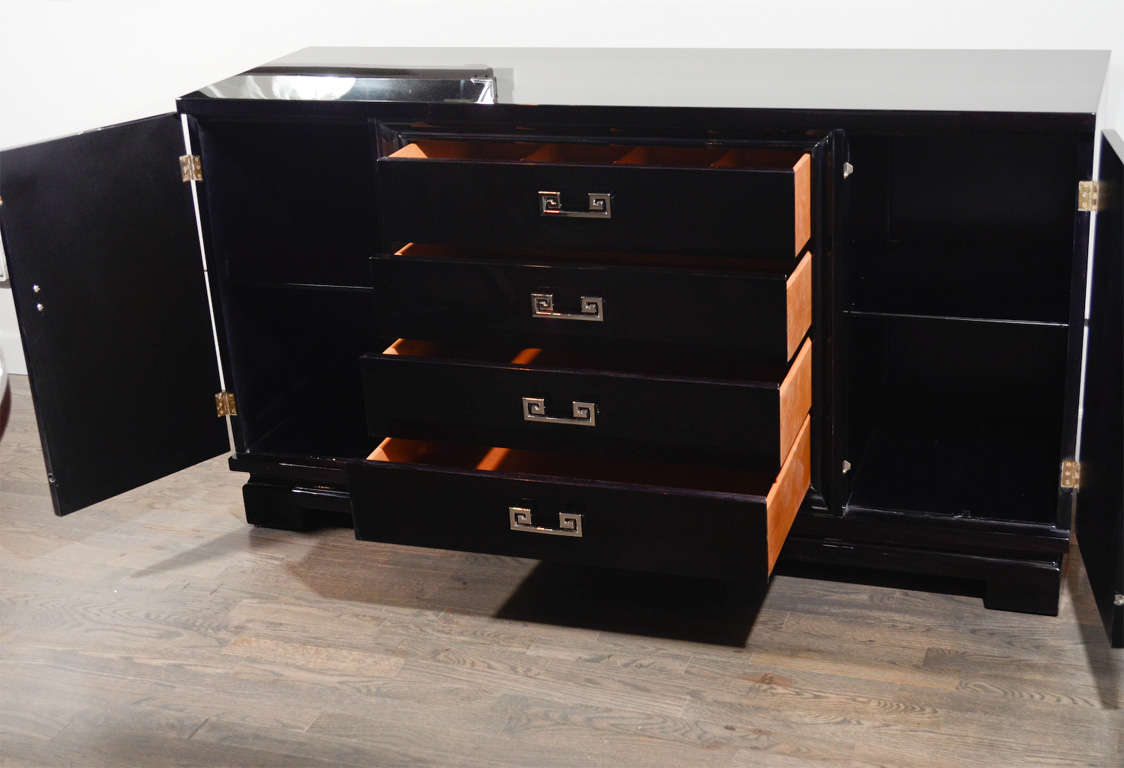 Modernist Sideboard with Stylized Greek Pulls by Kittinger at 1stdibs