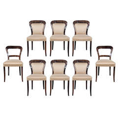 Modernist Set of 8 Arched Back Dining Chairs