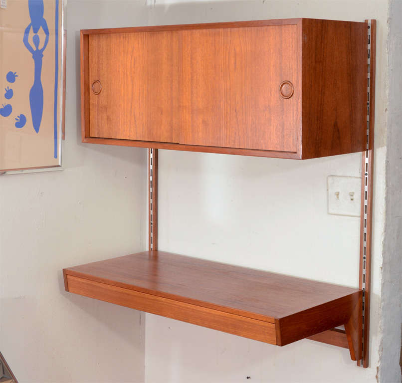 Handsome Practical And Versatile Danish Wall Mounted Teak Desk The Unit Is