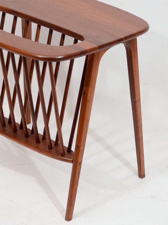 Mid-Century Modern Walnut Side Table with Magazine Rack by Arthur Umanoff For Sale