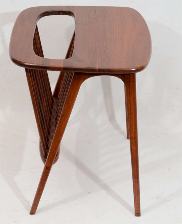 American Walnut Side Table with Magazine Rack by Arthur Umanoff For Sale