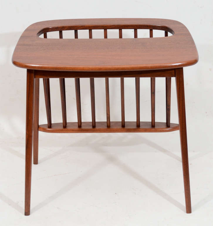 Walnut Side Table with Magazine Rack by Arthur Umanoff For Sale 1