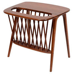 Walnut Side Table with Magazine Rack by Arthur Umanoff