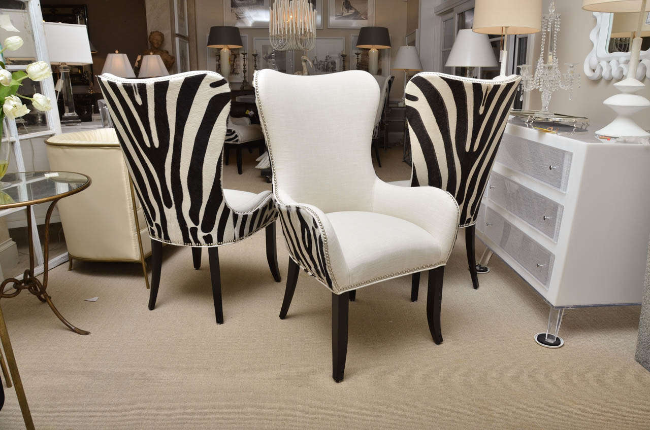 Set Of Eight Zebra Stenciled Cowhide Dining Chairs 2