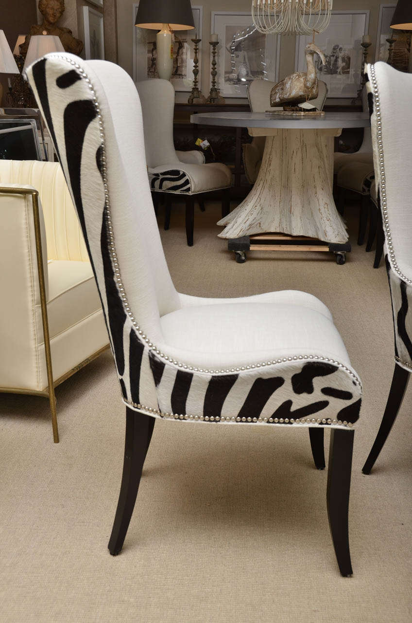 set of eight zebra stenciled cowhide dining chairs for sale at 1stdibs