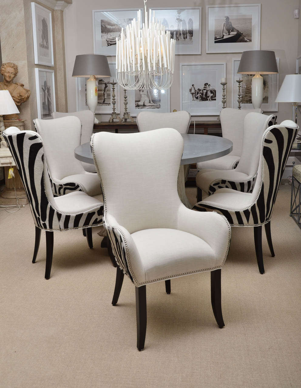 Set of eight zebra stenciled cowhide dining chairs for for 8 dining room chairs