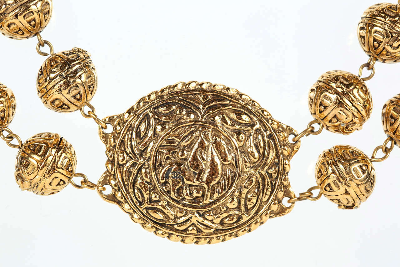 Chanel Byzantine Style Beaded Medallion Necklace In Excellent Condition For Sale In Los Angeles, CA