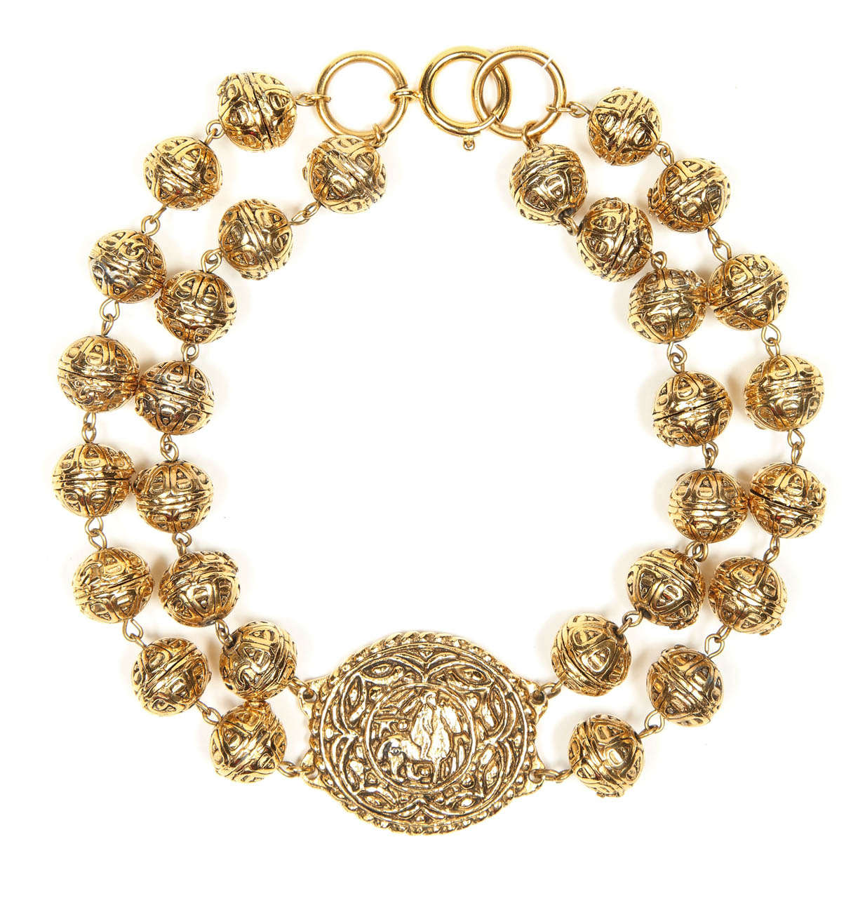 Chanel Byzantine Style Beaded Medallion Necklace For Sale 2