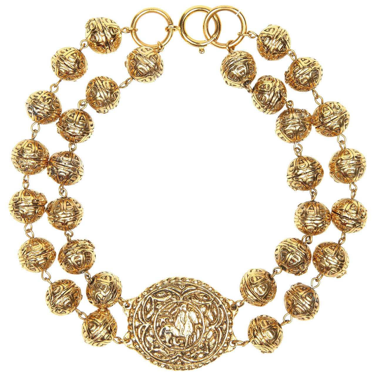 Chanel Byzantine Style Beaded Medallion Necklace For Sale