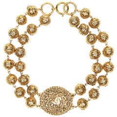 Chanel Byzantine Style Beaded Medallion Necklace