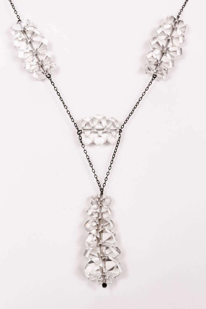 Women's Russian Rock Crystal & Sterling Necklace & Earring Set For Sale