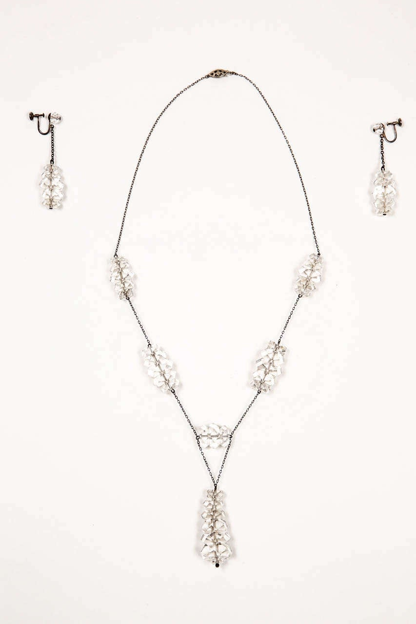 Russian Rock Crystal & Sterling Necklace & Earring Set For Sale 5