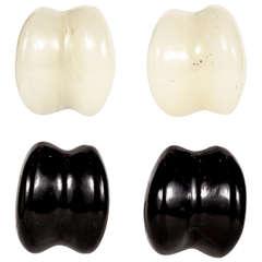 Patricia von Musulin White & Black Onyx Ear Clips