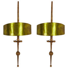 """Pair of Gilt Bronze Wall Lights Called """"Sword"""", 1958-60, by F. Agostini"""