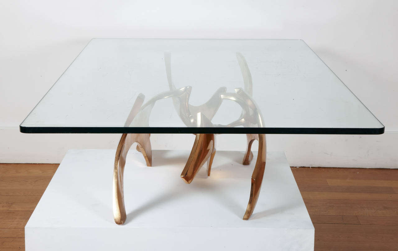 Beautiful Gilt Polished Bronze Sculpture As A Coffee Table By Fred Brouard,  1970s, With