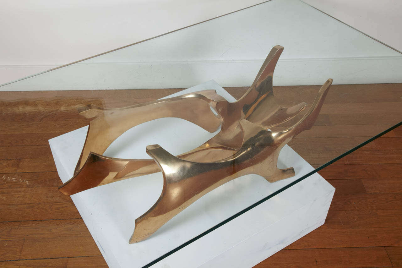Sculpted Bronze Coffee Table by Fred Brouard, 1970s In Good Condition For Sale In Paris, FR