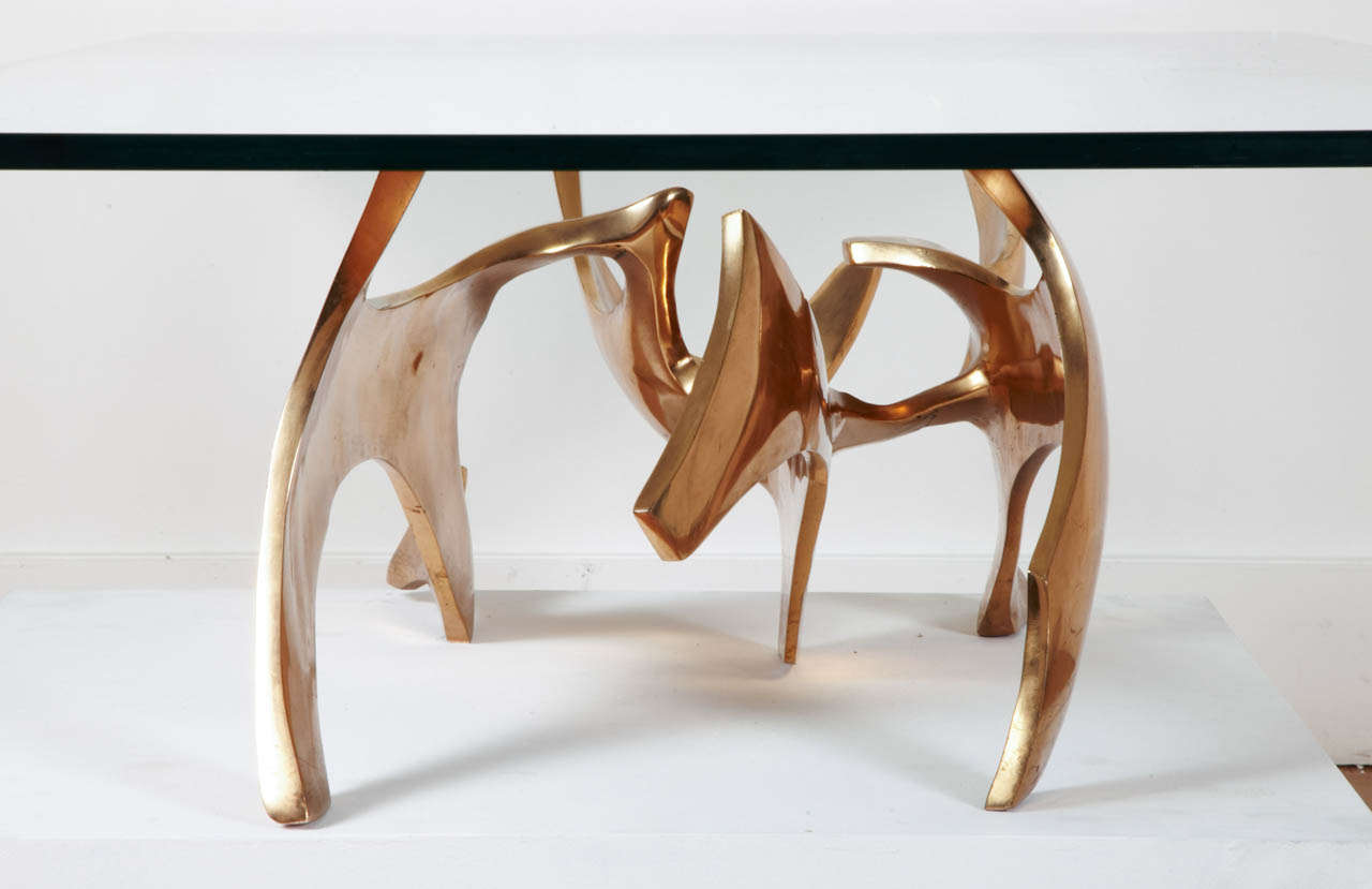 Glass Sculpted Bronze Coffee Table by Fred Brouard, 1970s For Sale