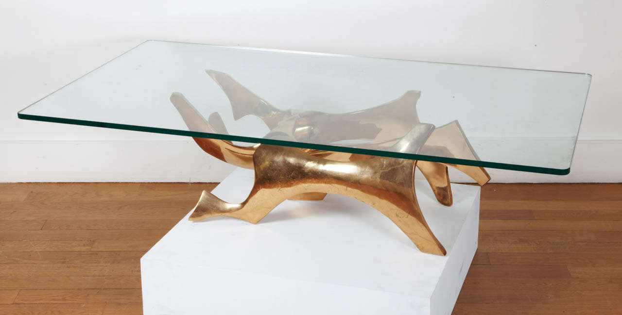 Sculpted Bronze Coffee Table by Fred Brouard, 1970s For Sale 1