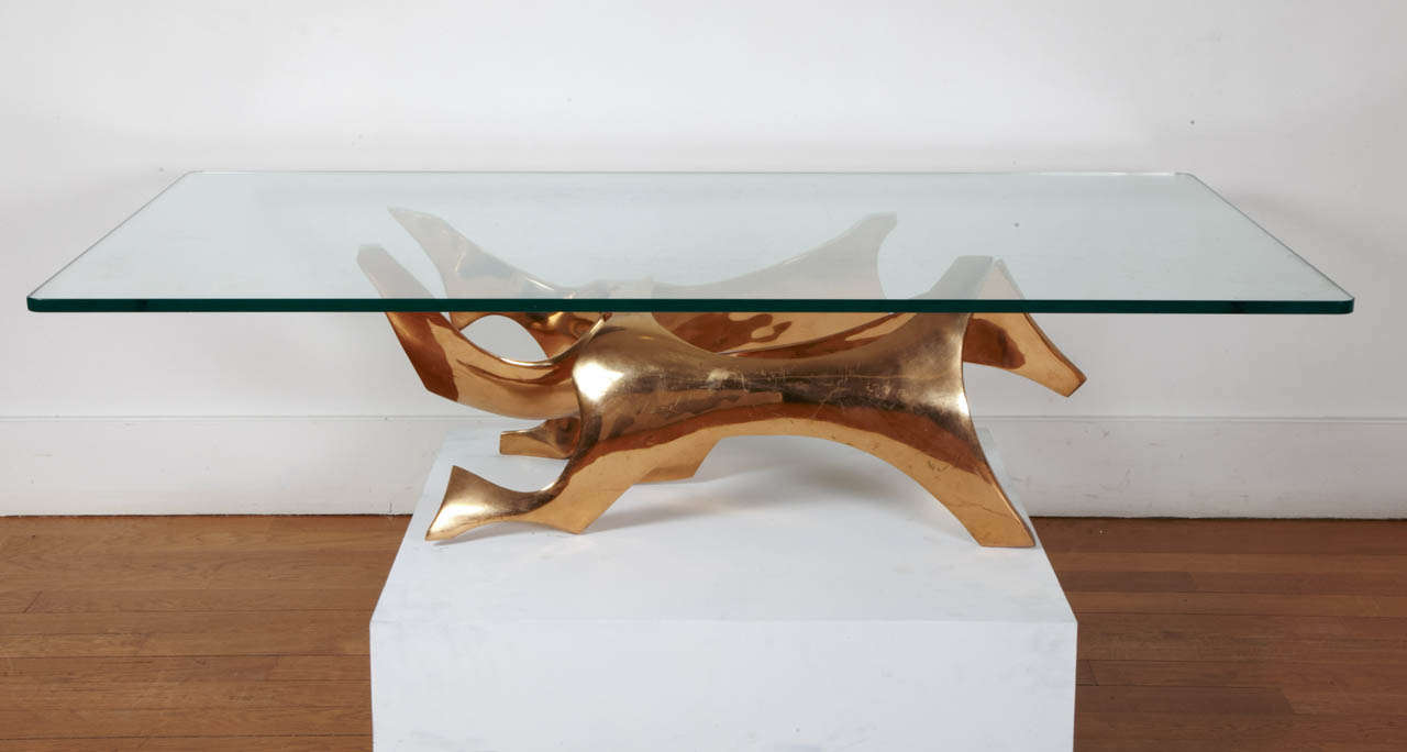 Sculpted Bronze Coffee Table by Fred Brouard, 1970s For Sale 3