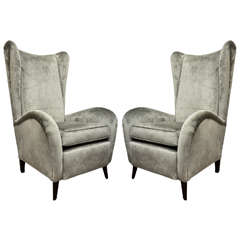 Pair of Velvet Wing Chairs