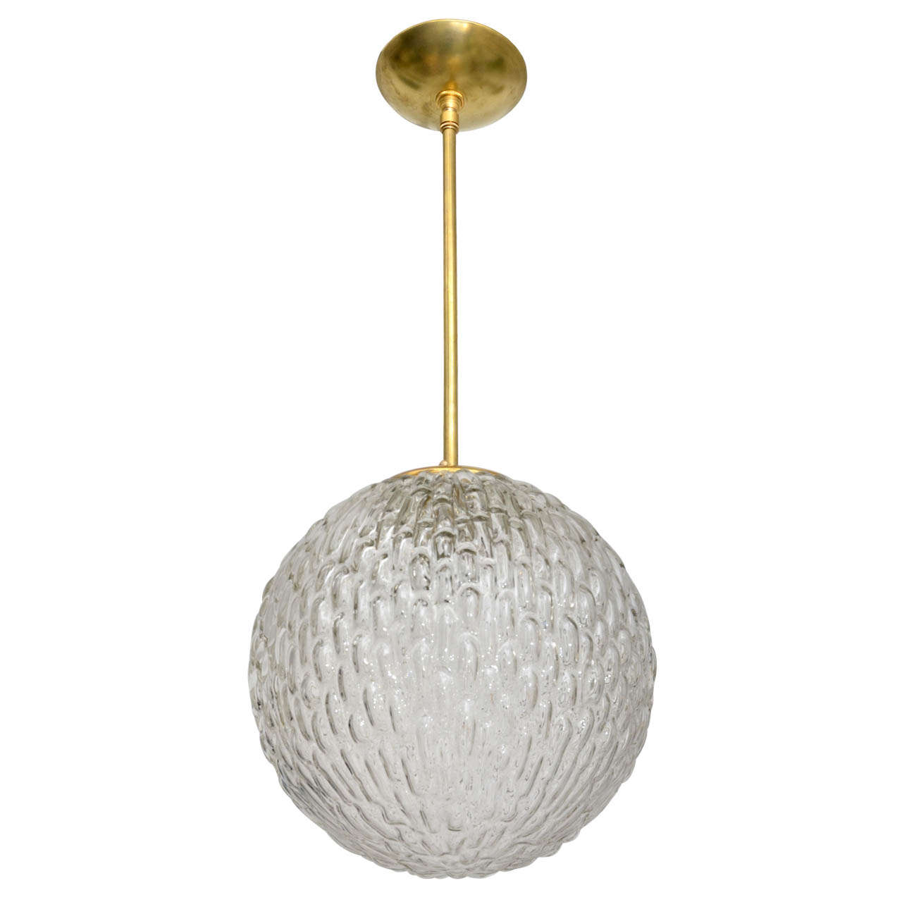 Textured Murano Gl Globe Pendant With Br Details At 1stdibs