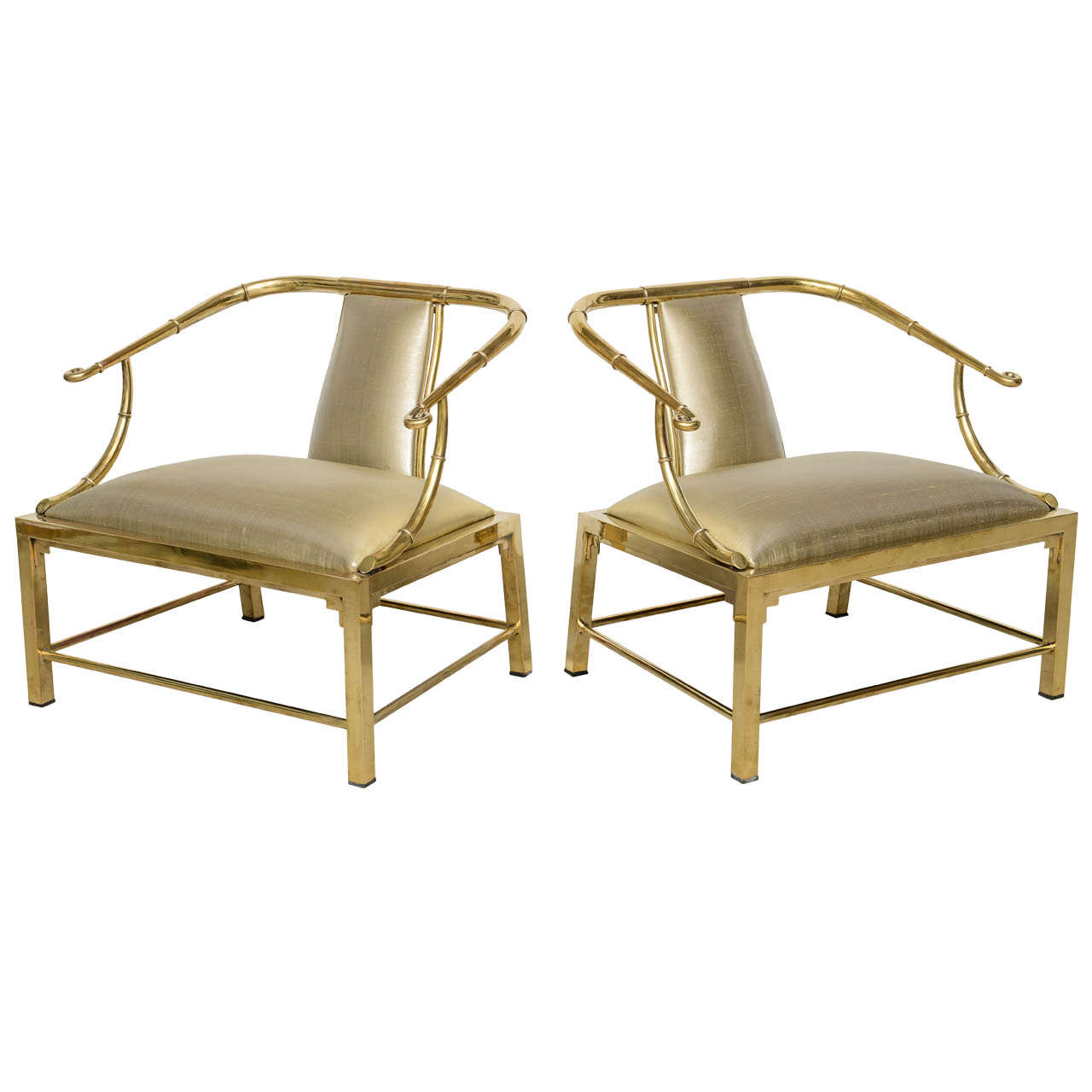 Vintage Pair Of Brass Faux Bamboo Low Chairs Jansen At