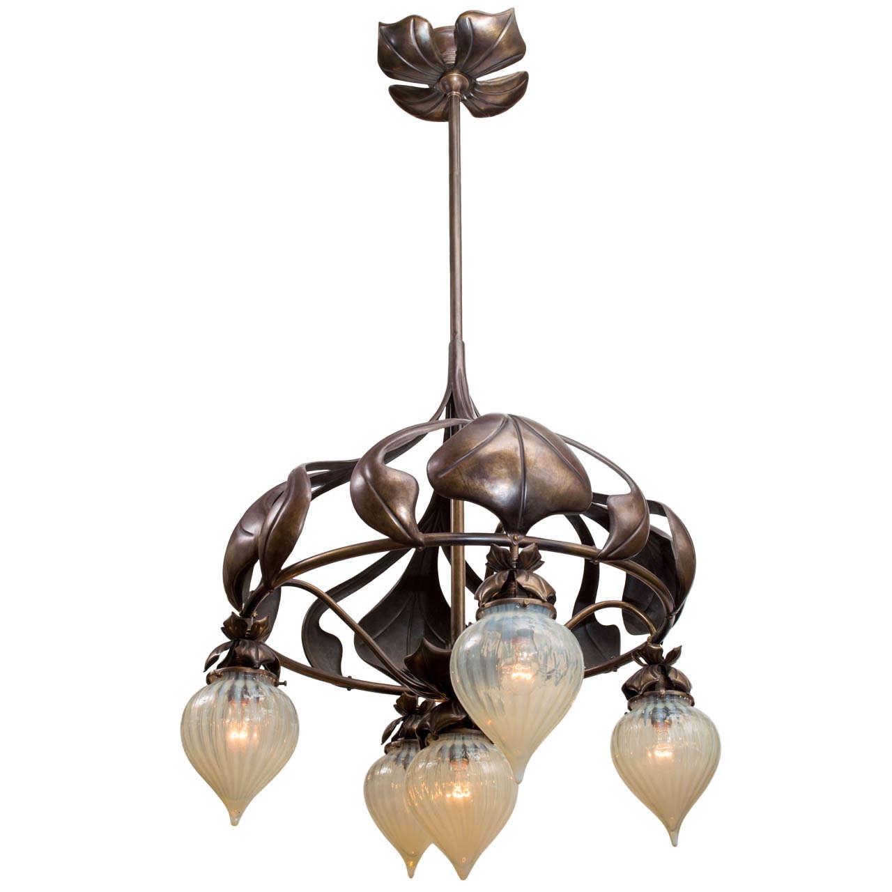 Art Nouveau Chandelier with Five Opalescent Tear Drop Shades at ...:Art Nouveau Chandelier with Five Opalescent Tear Drop Shades 1,Lighting