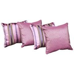 British Colonial Handmade Set of Four Silk Pillows by Arlene Angard