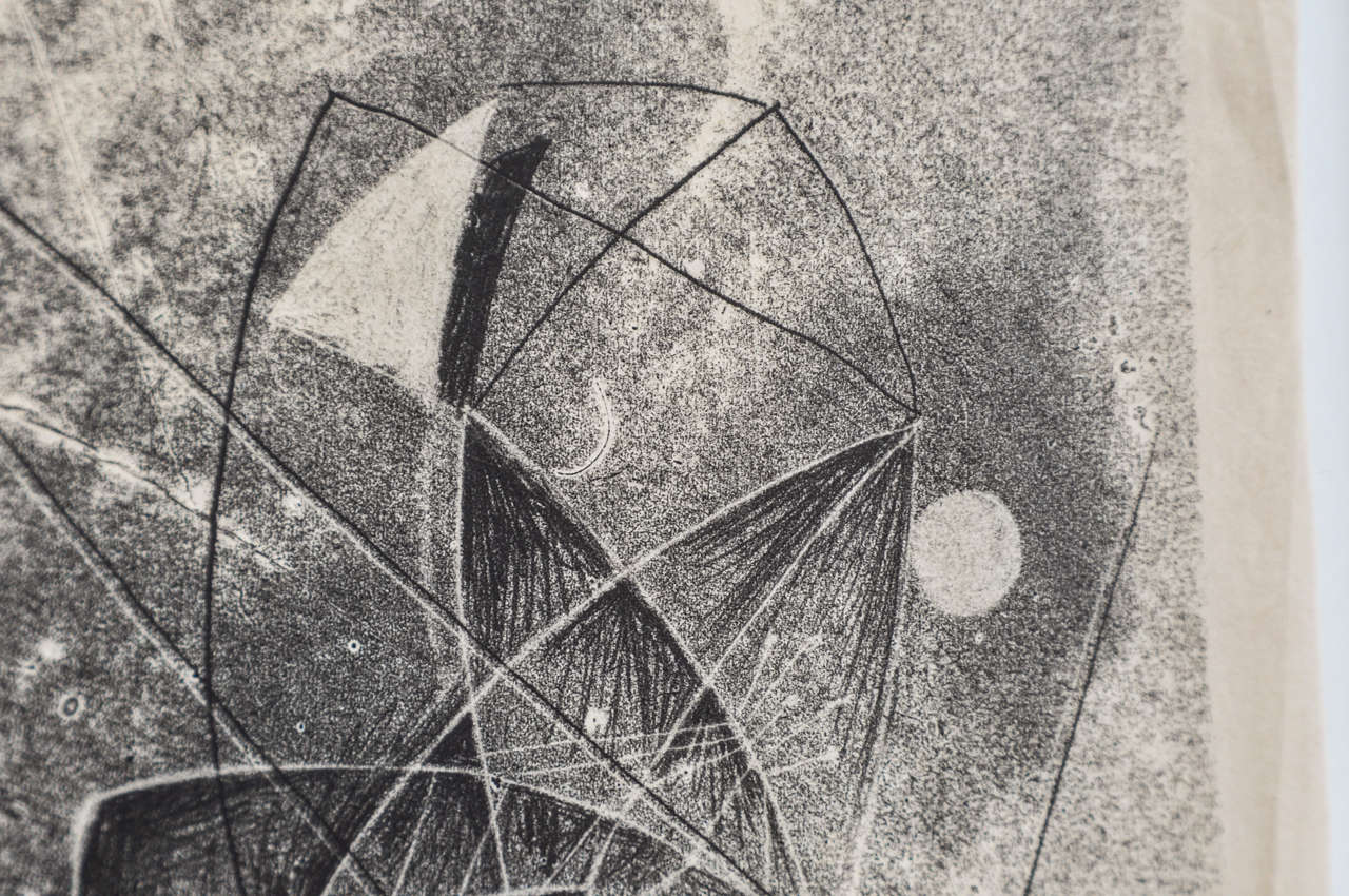 Mid-20th Century 1940s Monotype by Harry Bertoia For Sale