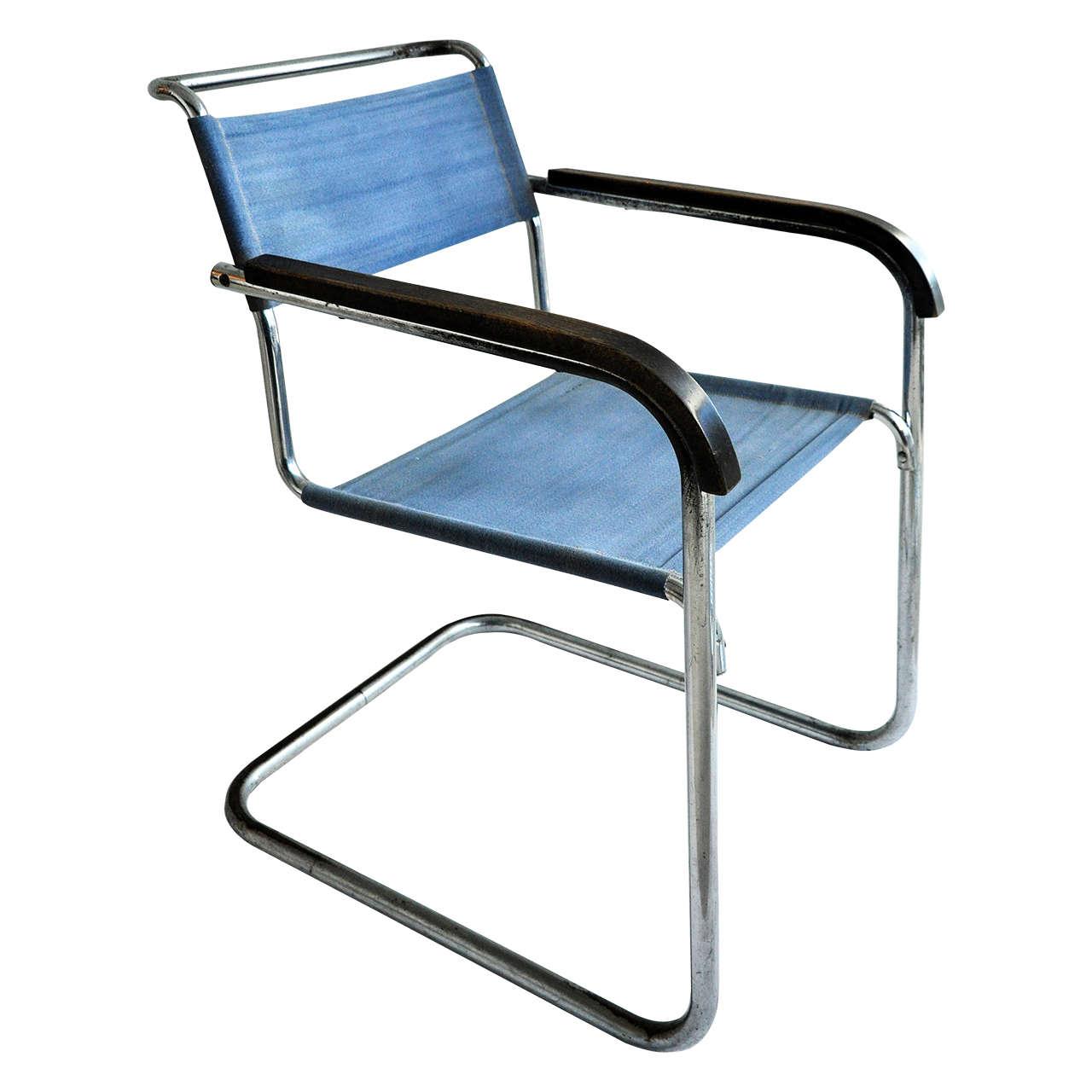 Marcel Breuer Tubular Steel Armchair For Thonet Bauhaus