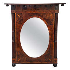 Mirror with Intricate Marquetry Frame, 19th Century, American