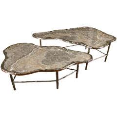Pair of Meteorite Onyx Low Tables