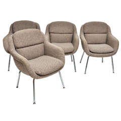 Mid-Century Modern Set of Four Upholstered Dining Armchairs