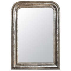 19th Century Louis Philippe Silver Giltwood Mirror